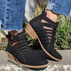 Strappy Braided Buckle Booties